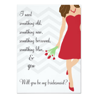 Red Chevron Will You Be My Bridesmaid 4.5x6.25 Paper Invitation Card