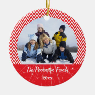 Red chevron zigzag christmas family photo ornament