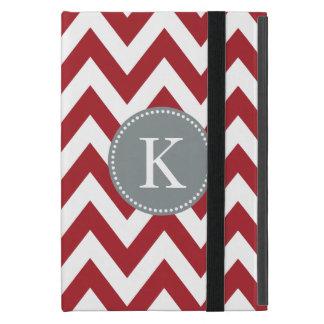 Red Chevron Zigzag Monogram Pattern Case For iPad Mini