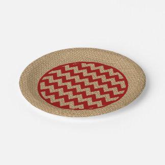 Red Chevron Zigzag Rustic Burlap Paper Plates
