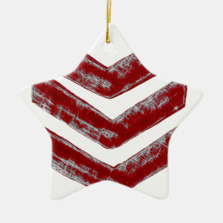 Red Chevrons Ceramic Ornament