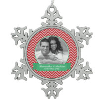 Red Chevrons Pattern Custom Photo Snowflake Pewter Christmas Ornament