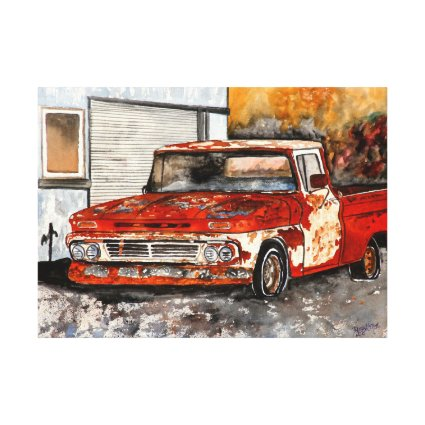 Red chevy chevrolet truck rusted antique canvas print