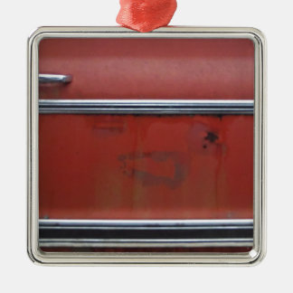 Red Chevy silver trim Christmas Ornament