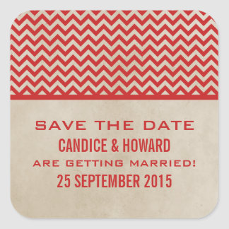 Red Chic Chevron Save the Date Stickers
