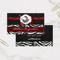 red chic cupcake business Cards