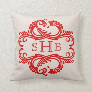 Red Chic Damask Monogram Pillow