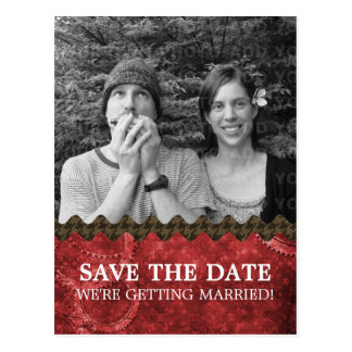 Red Chic Steampunk Photo Save the Date Postcard
