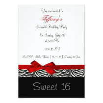 red chic Sweet Sixteen party Invitation