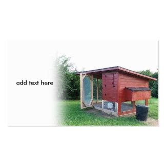 red chicken coop business card
