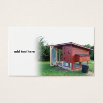 red chicken coop business card