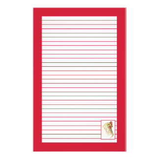 Red Chicken Hen Bird Drawing Lined Stationery