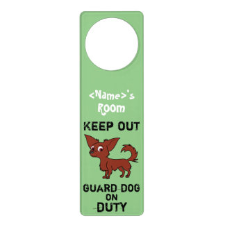 Red Chihuahua Guard Dog on Duty Door Knob Hangers
