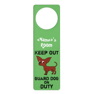 Red Chihuahua Guard Dog on Duty Door Knob Hanger