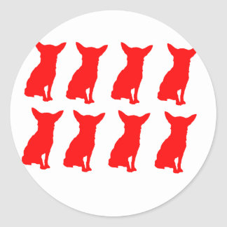 RED CHIHUAHUA SILHOUETTES CLASSIC ROUND STICKER