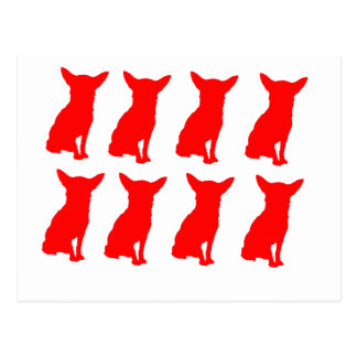 RED CHIHUAHUA SILHOUETTES POSTCARD