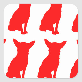 RED CHIHUAHUA SILHOUETTES SQUARE STICKER