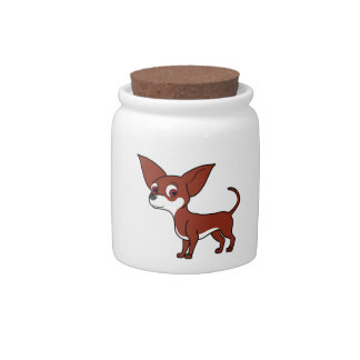 Red Chihuahua with White Markings Candy Jar