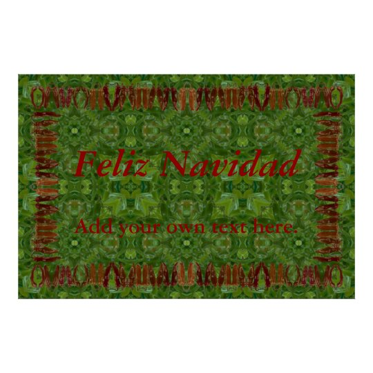 Red Chile Border on Green Chile Background Poster