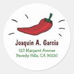 Red Chili Pepper Address Labels Round Sticker