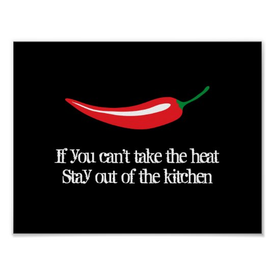 Red Chili Pepper Kitchen Poster With Funny Quote