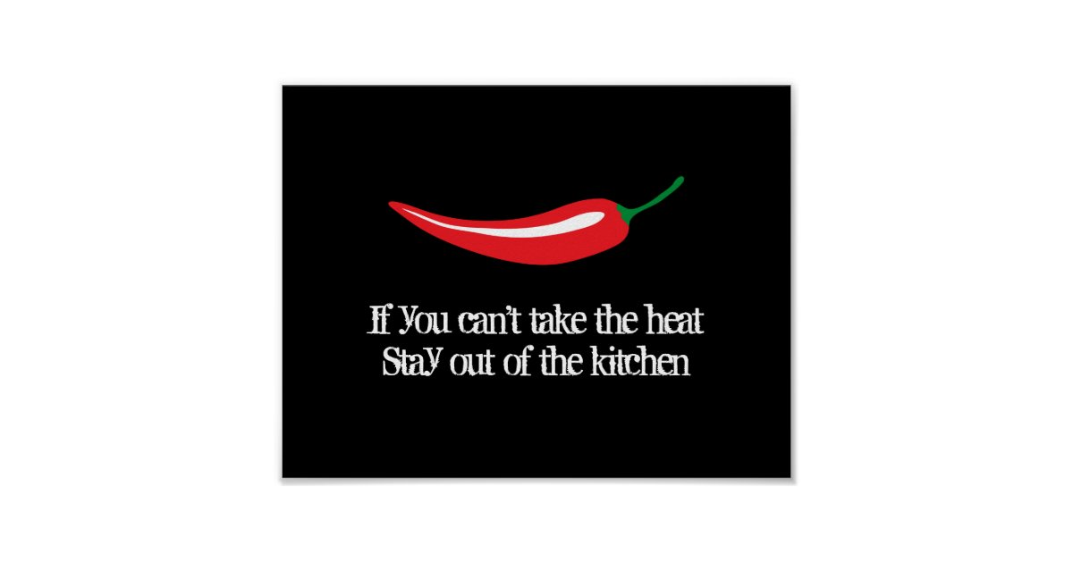 Red chili pepper kitchen poster with funny quote | Zazzle
