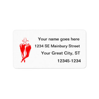 red chili pepper two dancing abstract custom address labels
