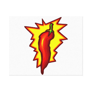 Red Chili Pepper Yellow Burst Graphic Canvas Print