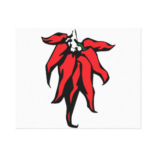 Red Chili Peppers On a String Graphic Canvas Print