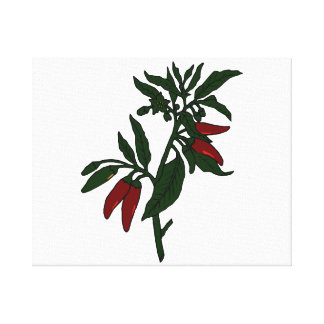 Red chili peppers on dark green plant canvas print
