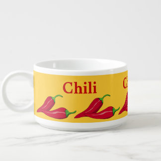 Red Chili Peppers on Saffron Yellow Bowl