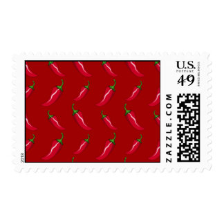 Red chili peppers pattern postage stamps