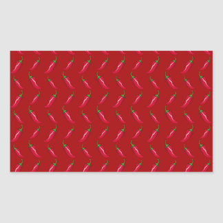 Red chili peppers pattern rectangular stickers