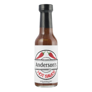 Red Chili Peppers Personalized Hot Sauce Bottle