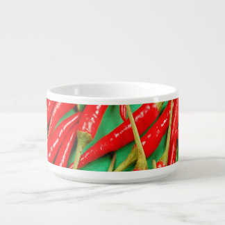 Red chili peppers print chili bowl