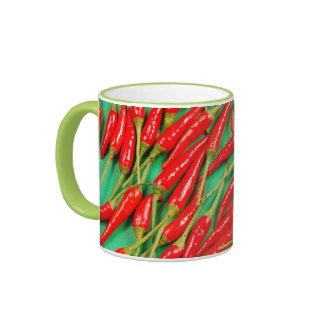 Red chili peppers print coffee mug