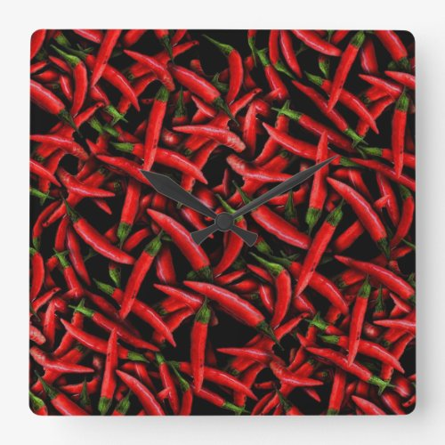 Red Chili Peppers Square Wall Clock - pepper wall art - Pepper wall decor