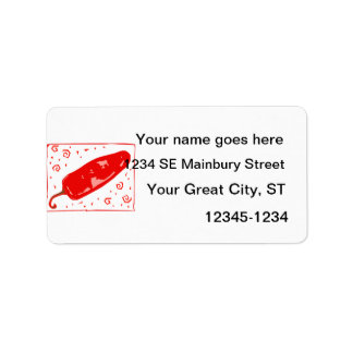 Red chili rounded pepper squirls labels