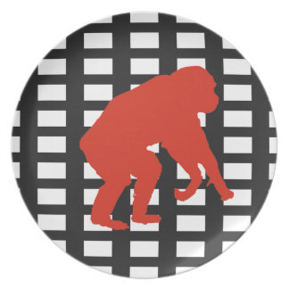 Red Chimpanzee Art Plate