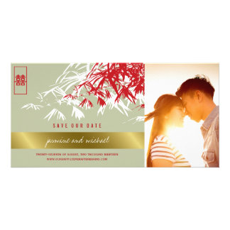 Red Chinese Bamboo Leaves Save The Date Photo Card