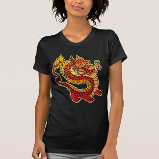 Red Chinese Dragon  Ladies Sheer V-Neck (Fitted) T-Shirt