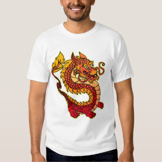 Red Chinese Dragon  Melange Ringer T-Shirt