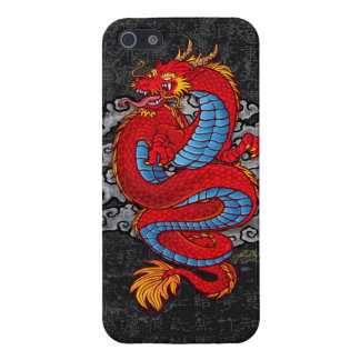 Red Chinese Dragon on Black iPhone SE/5/5s Cover