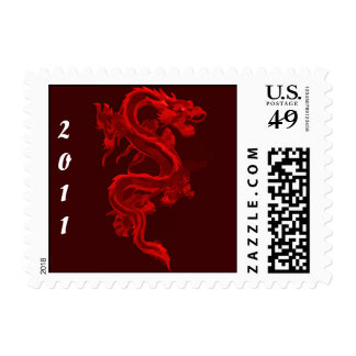 Red Chinese Dragon Postage Stamp