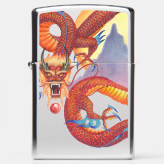 Red Chinese Dragon Zippo Lighter
