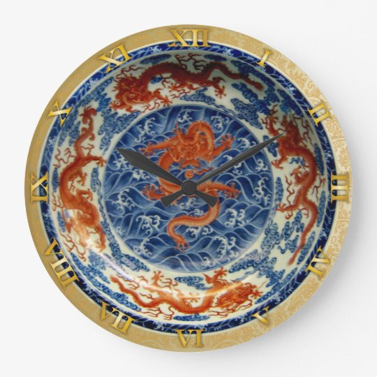 Red Chinese Dragons on Blue Dish - Clock