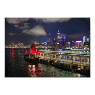 Red Chinese Junk in Hong Kong at Night Card