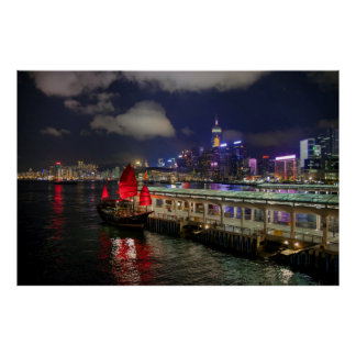Red Chinese Junk in Hong Kong at Night Poster