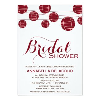 Red Chinese Paper Lantern Bridal Shower Invitation