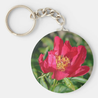 Red Chinese peony flower Keychain